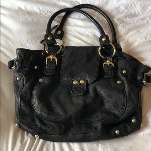 Linea Pelle   Black Leather Tote Bag